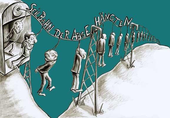 Seilbahn der Abgehängten, Tina Brenneisen, Karikatur 2013