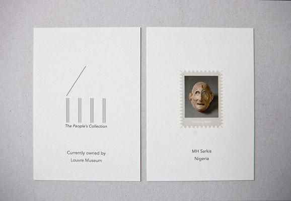 The People's Collection, Ana Mendes, Sammlung von Postkarten und Publikation, Foto: Ines Valle, Grinning Mask © 1993 RMNHerve Lewandowski Louvre Museum