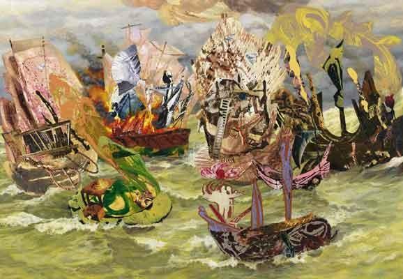 Loose Ships, Mary Lou Zelazny, 2011, Foto: Tom Van Endye, Acryl, Collage, Öl auf Leinwand