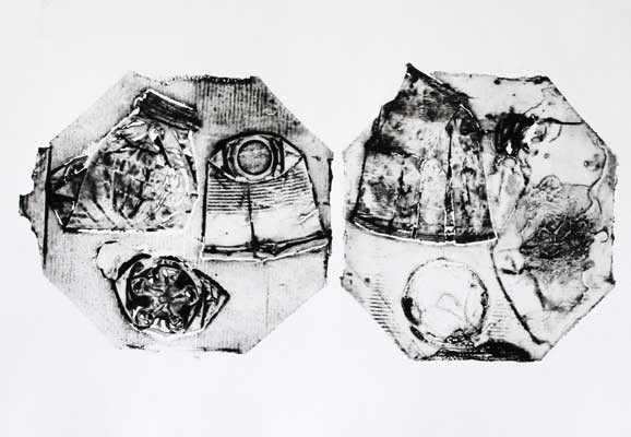 Dinner for two, Ann-Kristin Källström, Collagraph 2013, Garbage from the streets in Nairobi, printed on paper